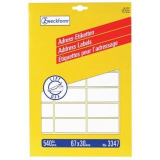 AVERY ZWECKFORM Adressetiketten 3347 67 x 30 mm 540 Stück weiß