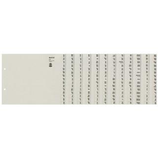 LEITZ Buchstabenregister 1312 A4  12-teilig grau