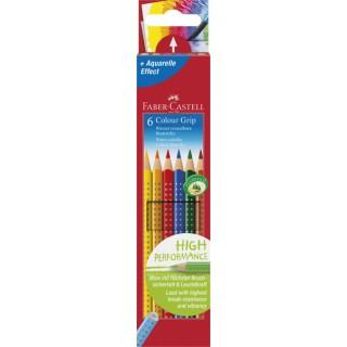 FABER-CASTELL Buntstift Colour Grip 6 Stück im Kartonetui farbig sortiert