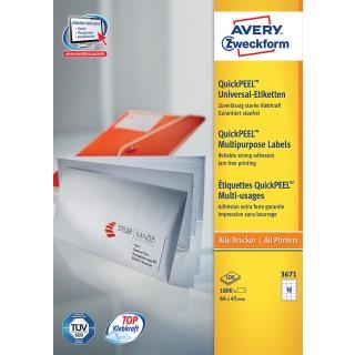 AVERY ZWECKFORM Universal-Etiketten 3671 64 x 45 mm 1.800 Stück weiß