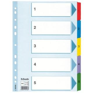ESSELTE Register A4 Karton 1-5 mehrere Farben