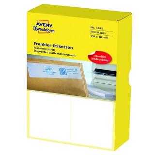 AVERY ZWECKFORM Frankier-Etiketten 3442 13,8 x 4,8 cm 500 Stück matt weiß