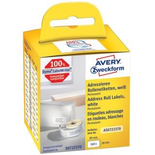 AVERY ZWECKFORM Rollenetiketten AS0722370 260 Etiketten 28 x 89 mm weiß