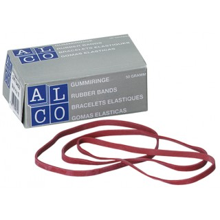 ALCO Gummibänder 50 g 130 x 4 mm rot