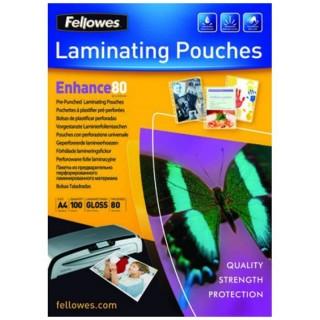 FELLOWES Laminierfolie A4 80 mic 100 Stück gelocht glänzend transparent