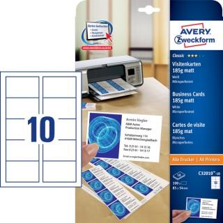 AVERY ZWECKFORM Visitenkarten C32010-10 100 Stück 85 x 54 mm weiß