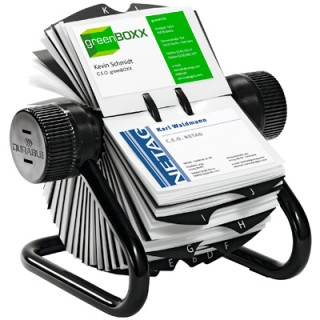 DURABLE Rollkartei Visifix 2481 inkl. 25-teiligem Register und 200 Visitenkartenhüllen silber