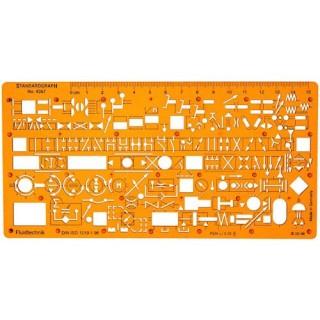 STANDARDGRAPH Hydraulik- und Pneumatikschablone 4367 nach DIN ISO 1219 200 x 1,2 x 100 mm orange