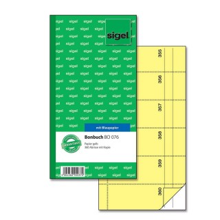 SIGEL Bonbuch mit Blaupapier BO076 2 x 60 Blatt 10,5 x 20,0 cm gelb