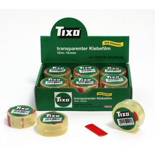 TIXO Klebeband 56002 15 mm x 10 m + Clip