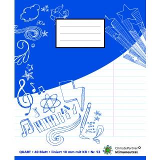 PAGRO Heft Quart 40 Blatt liniert mit Korrekturrand blau