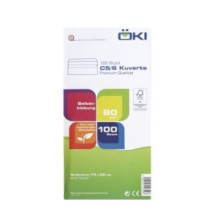 ÖKI Kuvert Classic C5/6-SK/CLA80 100 Stück DIN C5/6 selbstklebend ohne Fenster 80g/m² weiß