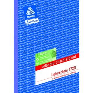 AVERY ZWECKFORM Lieferschein 1720 A5 2 x 40 Blatt selbstdurchschreibend