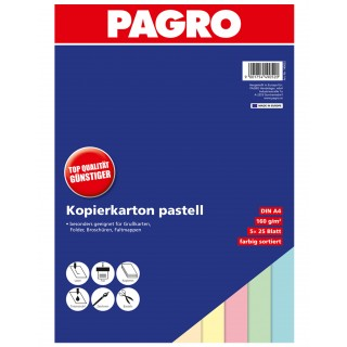 PAGRO farbiges Kopierpapier A4 160g 125 Blatt pastell