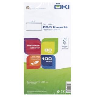 ÖKI Kuvert Classic C6/5-ÖF/CLA80 100 Stück DIN C6/5 mit Haftstreifen 80g/m² weiß