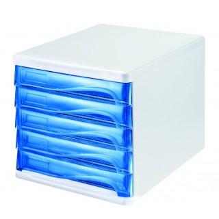 HELIT Schubladenbox 5 Fächer blau transparent
