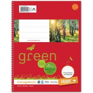 URSUS GREEN Collegeblock A5 80 Blatt liniert mit Rahmen