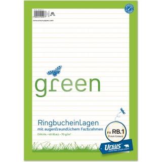 URSUS GREEN Ringbucheinlagen A4 40 Blatt liniert