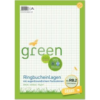 URSUS GREEN Ringbucheinlagen A4 40 Blatt kariert