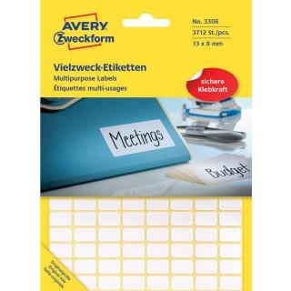 AVERY ZWECKFORM Vielzwecketiketten 3306 3.712 Stück 13 x 8 mm weiß