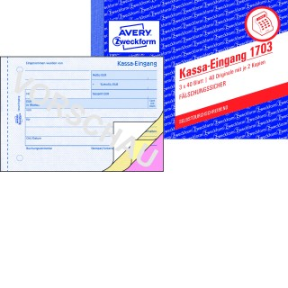 AVERY ZWECKFORM Kassa-Eingang 1703 A6 3 x 40 Blatt selbstdurchschreibend