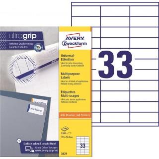 AVERY ZWECKFORM Universaletiketten ultragrip 3421 3.300 Stück 70 x 25,4 mm weiß