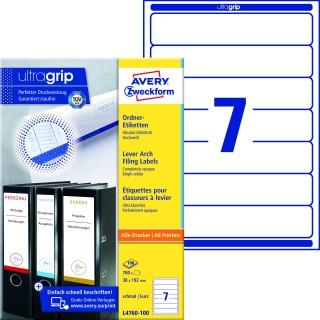 AVERY ZWECKFORM Ordneretiketten ultragrip L4760-100 700 Stück schmal 38 x 192 mm weiß