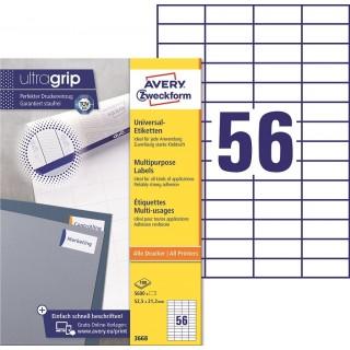 AVERY ZWECKFORM ultragrip Universaletiketten 3668 5.600 Stück 52,5 x 21,2 mm weiß