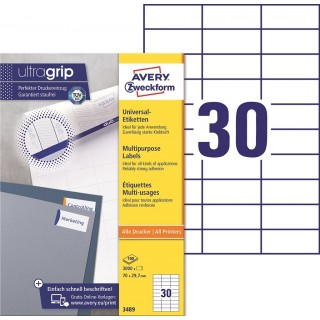 AVERY ZWECKFORM ultragrip Universaletiketten 3489 3.000 Stück 70 x 29,7 mm weiß