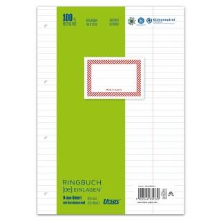 URSUS Ringbucheinlagen A4 100 Blatt 70 g/m² liniert mit Korrekturrand hochweiß