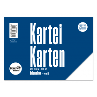 URSUS Karteikarten 100 Stück A5 blanko weiß