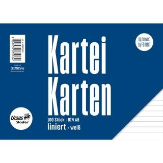 URSUS Karteikarten 100 Stück A5 liniertweiß