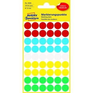 AVERY ZWECKFORM Markierungspunkte 3088 27 Stück permanent Ø 12 mm farbig sortiert