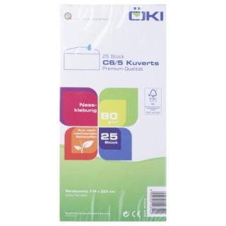 ÖKI Kuvert Classic C6/5CLA80IS 25 Stück DIN C6/5 gummiert ohne Fenster 80g/m² weiß