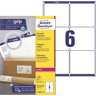 AVERY ZWECKFORM ultragrip Versandetiketten L7166-100 600 Stück 99,1 x 93,1 mm weiß