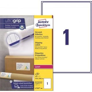 AVERY ZWECKFORM Versandetiketten ultragrip L7167-100 100 Stück 199,6 x 289,1 mm weiß