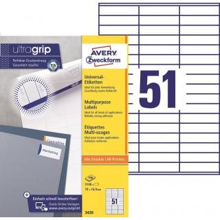 AVERY ZWECKFORM ultragrip Universaletiketten 3420 5.100 Stück 70 x 16,9 mm weiß