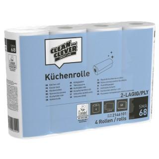 CLEAN & CLEVER Küchenrolle SMA 68 4 Rollen 2-lagig hochweiß