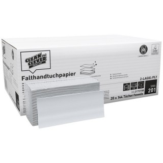 CLEAN & CLEVER Falthandtuch SMA201 2.880 Stück 25 x 31 cm 2-lagig naturweiß