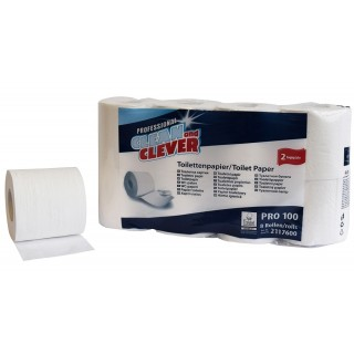 CLEAN & CLEVER Toilettenpapier Pro 100 64 Rollen 2-lagig weiß