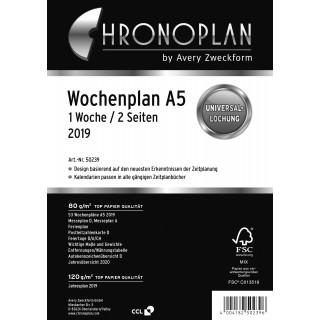 AVERY ZWECKFORM Chronoplan Wochenplan 50239 DIN A5 126 Blatt für 2019