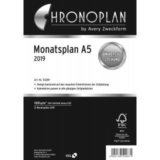 AVERY ZWECKFORM Chronoplan Monatsplan 50289 DIN A5 24 Blatt für 2019