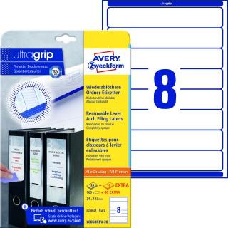 AVERY ZWECKFORM Ordneretiketten ultragrip L6060REV-20 240 Stück schmal 34 x 192 mm weiß