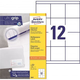 AVERY ZWECKFORM Universaletiketten ultragrip 3661 1.200 Stück 70 x 67 mm weiß