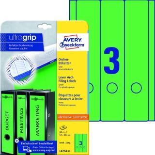 AVERY ZWECKFORM Ordneretiketten ultragrip L4754-20 60 Stück breit 61 x 297 mm grün