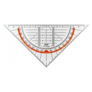 ARISTO Geodreieck College ohne Griff 16 cm transparent