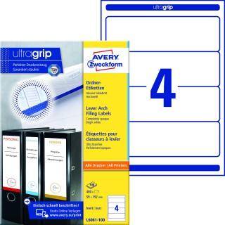 AVERY ZWECKFORM Ordneretiketten ultragrip L6061-100 400 Stück breit 59 x 192 mm weiß