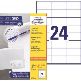 AVERY ZWECKFORM Universaletiketten ultragrip 3475-200 5.280 Stück 70 x 36 mm weiß