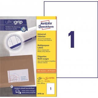 AVERY ZWECKFORM ultragrip Universaletiketten 3478-200 220 Stück 210 x 297 mm weiß