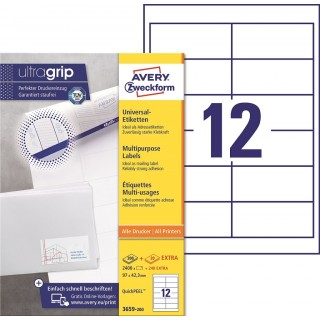 AVERY ZWECKFORM Universaletiketten ultragrip 3659-200 2.640 Stück 97 x 42,3 mm weiß